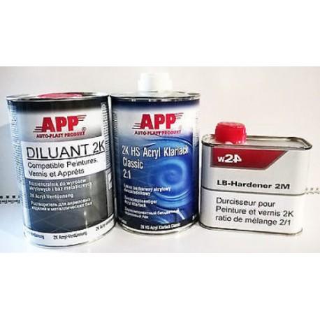 Pack Vernis + Durcisseur + Diluant 1l + 0,5l + 1l brillant 2K à haut extrait sec