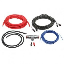 KIT CABLE RCA + CABLE ALIM 10MM2 + PORTE FUSIBLE + FUSIBLE + 4 COSSES