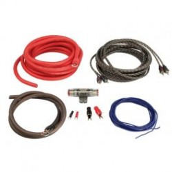 KIT CABLE RCA + CABLE ALIM 20MM2 + PORTE FUSIBLE + FUSIBLE + 4 COSSES