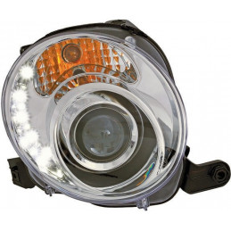 Phares Fiat 500 07 - clear / chome