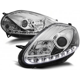 Phares Fiat Grande Punto 05-08 Devil Eyes Dlite LED Chrome