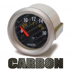 Manométre voltmètre 52mm Look carbone