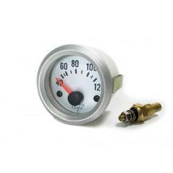 Manométre de température d'eau 52mm silver